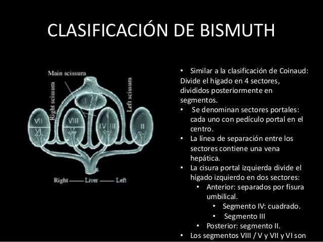 CLASIFICACIÓN DE BISMUTH • Similar a la clasificación de Coinaud: Divide el hígado en 4 sectores, divididos posteriormente...