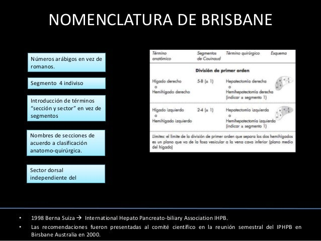 NOMENCLATURA DE BRISBANE • 1998 Berna Suiza  International Hepato Pancreato-biliary Association IHPB. • Las recomendacion...