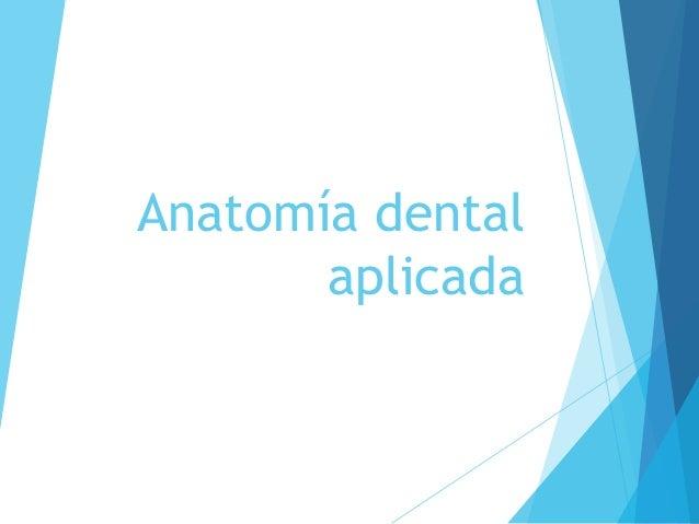 Anatomía dental aplicada