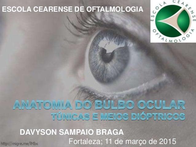 ESCOLA CEARENSE DE OFTALMOLOGIA DAVYSON SAMPAIO BRAGA Fortaleza; 11 de março de 2015