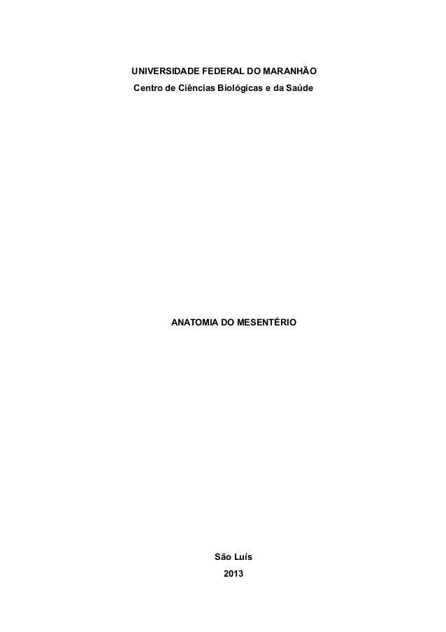 """1  UNIVERSIDADE FEDERAL DO MARANHÃO Centro de Ciências Biológicas e da Saúde  """" """" """" """" """" """" """" """" """" """" """" """" """" ANATOMIA DO MESENT..."""