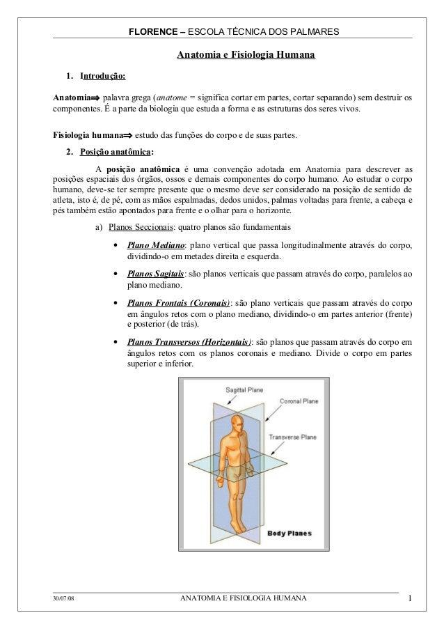 FLORENCE – ESCOLA TÉCNICA DOS PALMARES                                   Anatomia e Fisiologia Humana     1. Introdução:An...