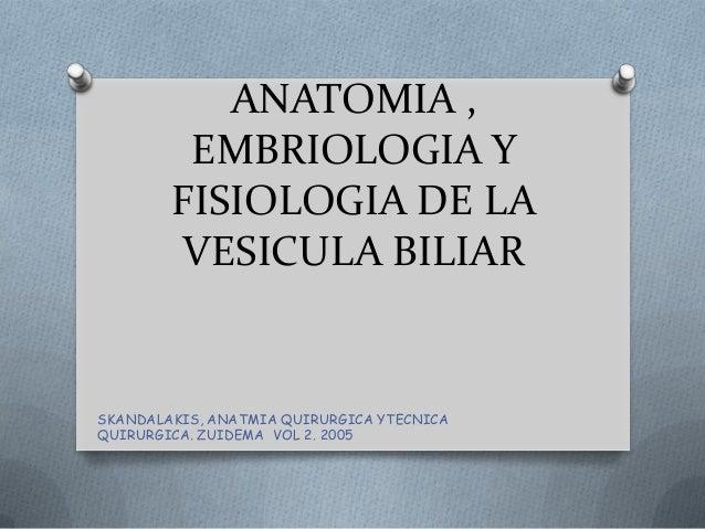 ANATOMIA , EMBRIOLOGIA Y FISIOLOGIA DE LA VESICULA BILIAR SKANDALAKIS, ANATMIA QUIRURGICA YTECNICA QUIRURGICA. ZUIDEMA VOL...