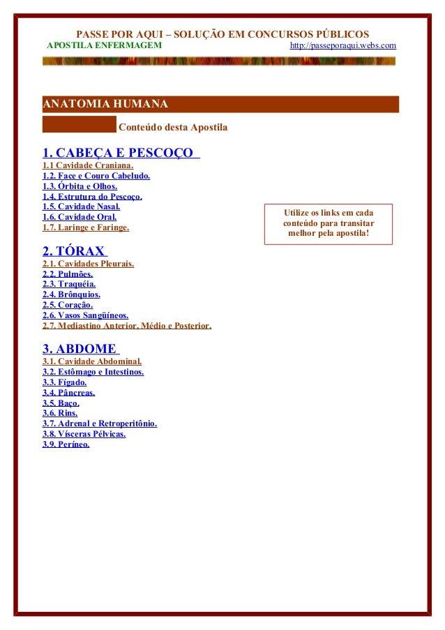PASSE POR AQUI – SOLUÇÃO EM CONCURSOS PÚBLICOS  APOSTILA ENFERMAGEM http://passeporaqui.webs.com  ANATOMIA HUMANA  Conteúd...