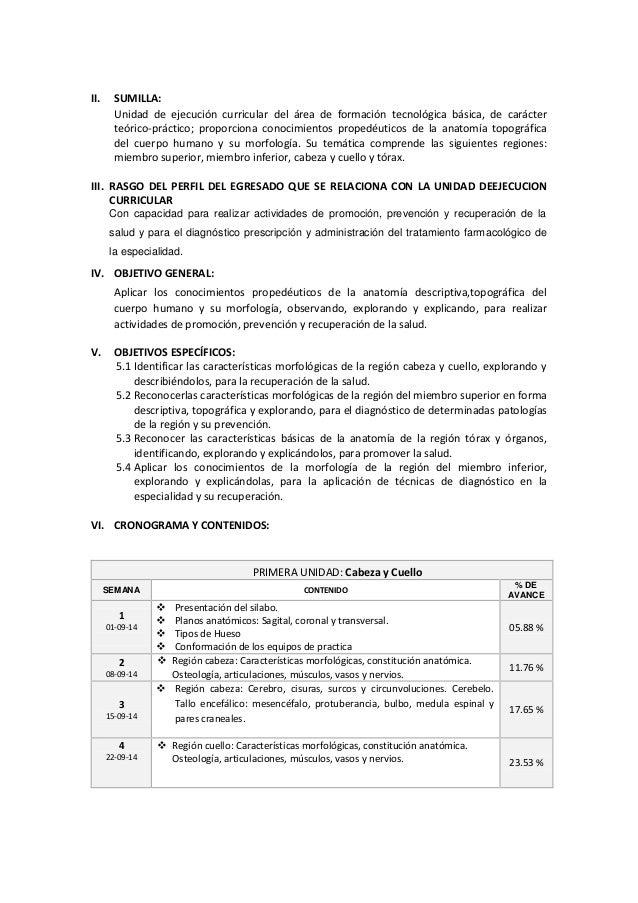 SILABO DE ANATOMIA HUMANA I EAP DE OBSTETRICIA 2014-II