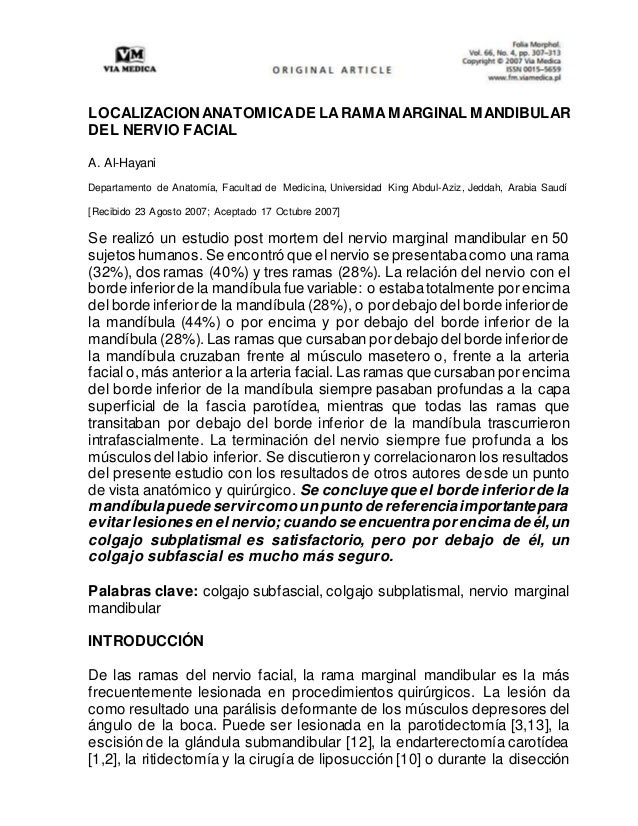ANATOMIA QUIRURGICA DE LA RAMA MARGINAL MANDIBULAR DEL NERVIO FACIAL