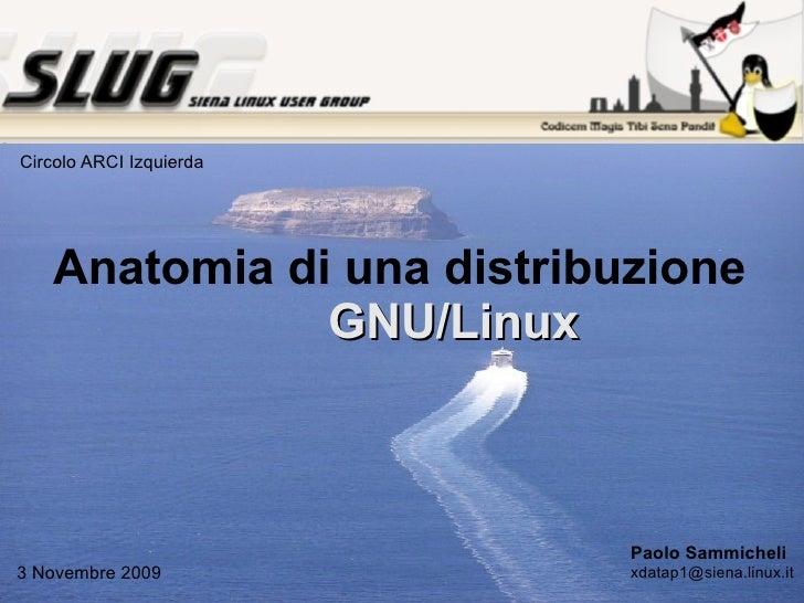 Anatomia di una distribuzione GNU/Linux Paolo Sammicheli [email_address] 3 Novembre 2009 Circolo ARCI Izquierda