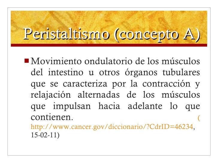 Peristaltismo (concepto A) <ul><li>Movimiento ondulatorio de los músculos del intestino u otros órganos tubulares que se c...