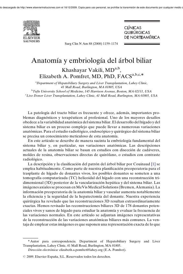 Anatomia y embriologia del arbol biliar