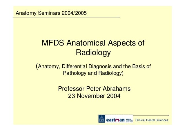 Anatomical Aspects Of Radiology Anatomy Differential Diagnosis And