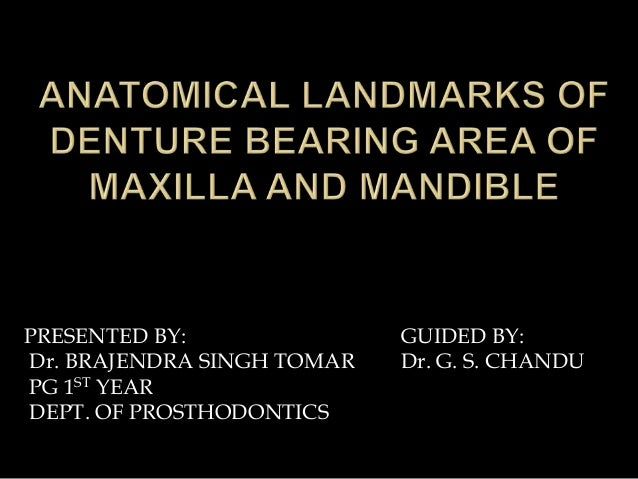 Anatomical landmarks of denture bearing area ofpptx final presented by dr brajendra singh tomar pg 1st year dept of prosthodontics guided fandeluxe