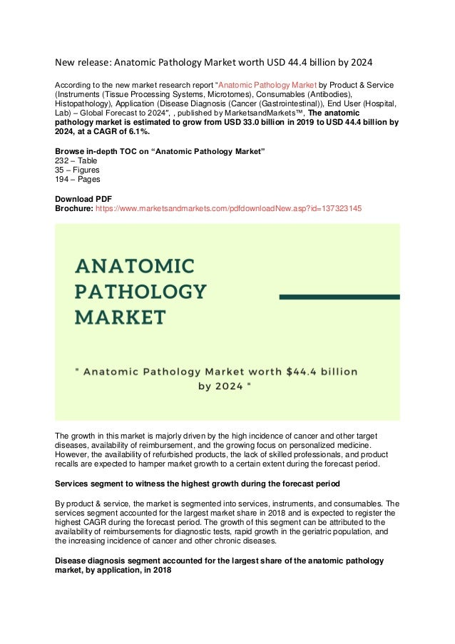 """New release: Anatomic Pathology Market worth USD 44.4 billion by 2024 According to the new market research report """"Anatomi..."""