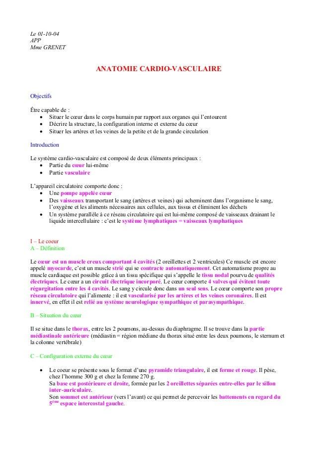 Le 01-10-04 APP Mme GRENET ANATOMIE CARDIO-VASCULAIRE Objectifs Être capable de : • Situer le cœur dans le corps humain pa...