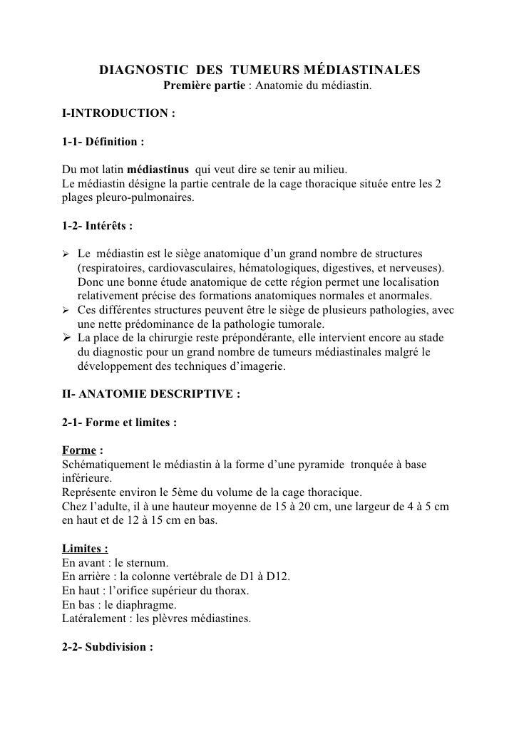 DIAGNOSTIC DES TUMEURS MÉDIASTINALES                     Première partie : Anatomie du médiastin.I-INTRODUCTION :1-1- Défi...