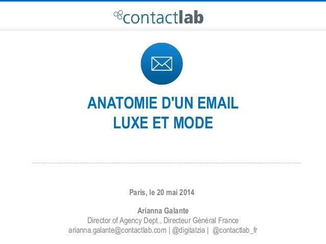 ANATOMIE D'UN EMAIL LUXE ET MODE Arianna Galante Director of Agency Dept., Directeur Général France arianna.galante@contac...