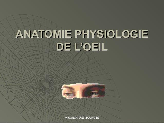 V.JOULIN IFSI BOURGES ANATOMIE PHYSIOLOGIEANATOMIE PHYSIOLOGIE DE L'OEILDE L'OEIL