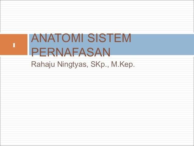 1    ANATOMI SISTEM    PERNAFASAN    Rahaju Ningtyas, SKp., M.Kep.