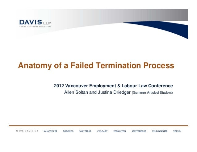 Anatomy of a Failed Termination Process        2012 Vancouver Employment & Labour Law Conference            Allen Soltan a...