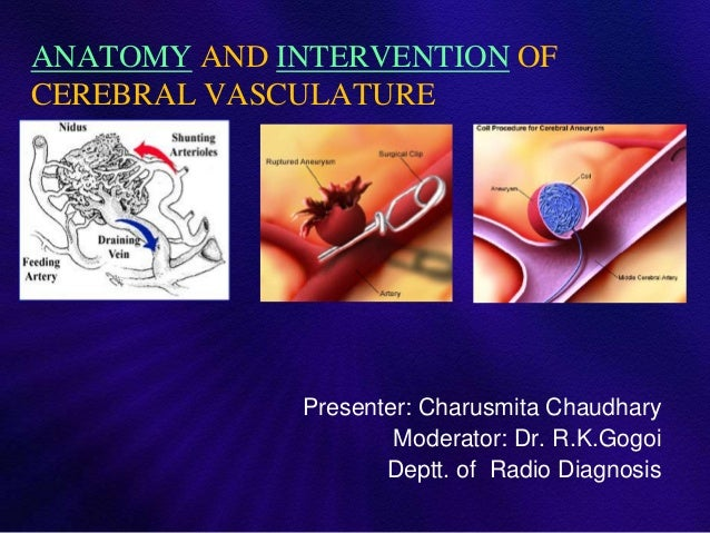 ANATOMY AND INTERVENTION OFCEREBRAL VASCULATURE             Presenter: Charusmita Chaudhary                     Moderator:...