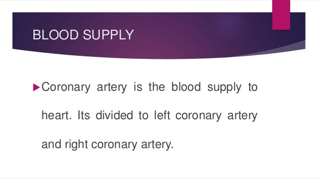 BLOOD SUPPLY  Coronary artery is the blood supply to  heart. Its divided to left coronary artery  and right coronary arte...