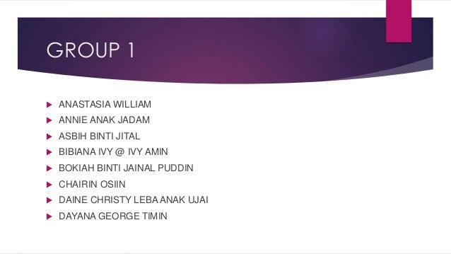 GROUP 1   ANASTASIA WILLIAM   ANNIE ANAK JADAM   ASBIH BINTI JITAL   BIBIANA IVY @ IVY AMIN   BOKIAH BINTI JAINAL PUD...