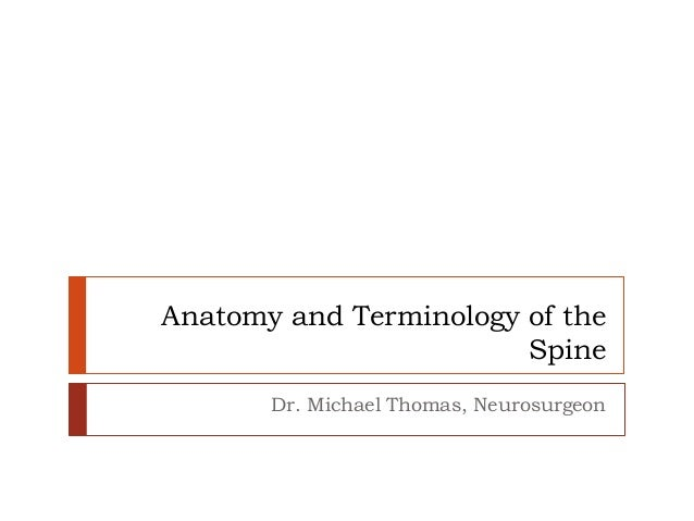 Anatomy and Terminology of the Spine Dr. Michael Thomas, Neurosurgeon