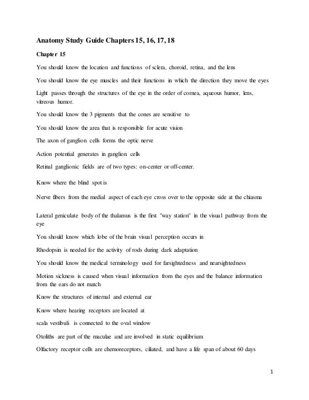 Anatomy Final15161718 Study Guide