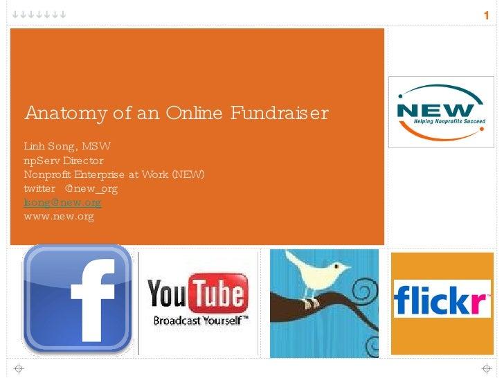 Anatomy of an Online Fundraiser <ul><li>Linh Song, MSW </li></ul><ul><li>npServ Director </li></ul><ul><li>Nonprofit Enter...