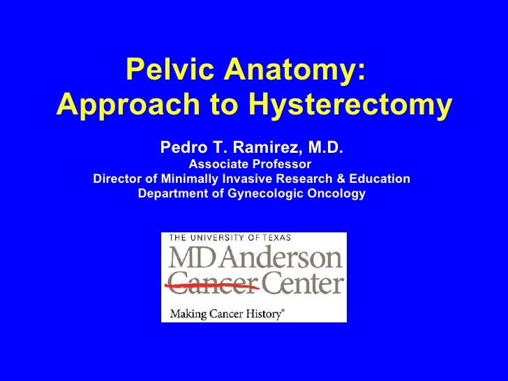Pelvic Anatomy:  Approach to Hysterectomy Pedro T. Ramirez, M.D. Associate Professor  Director of Minimally Invasive Resea...