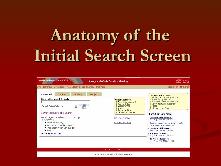Anatomy of the  Initial Search Screen
