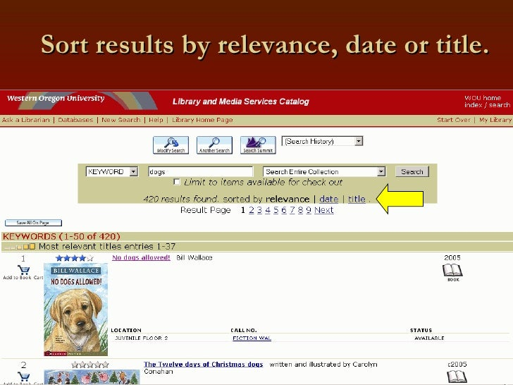 Sort results by relevance, date or title.