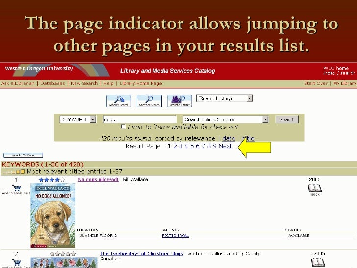 The page indicator allows jumping to other pages in your results list.
