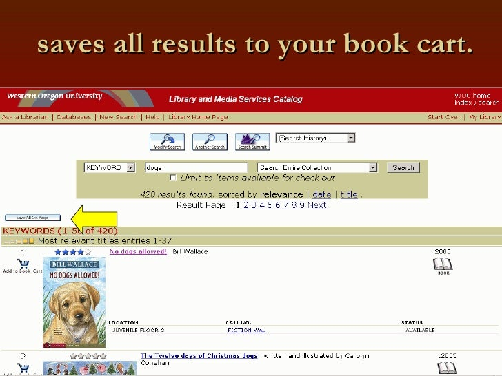 saves all results to your book cart.