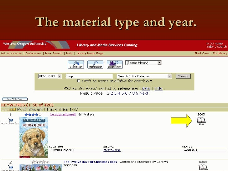 The material type and year.