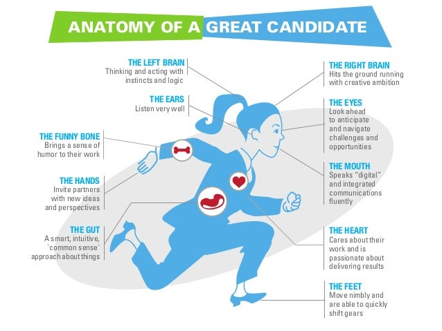 ANATOMY OF A GREAT CANDIDATE THE LEFT BRAIN  Thinking and acting with instincts and logic  THE EARS  Listen very well  THE...