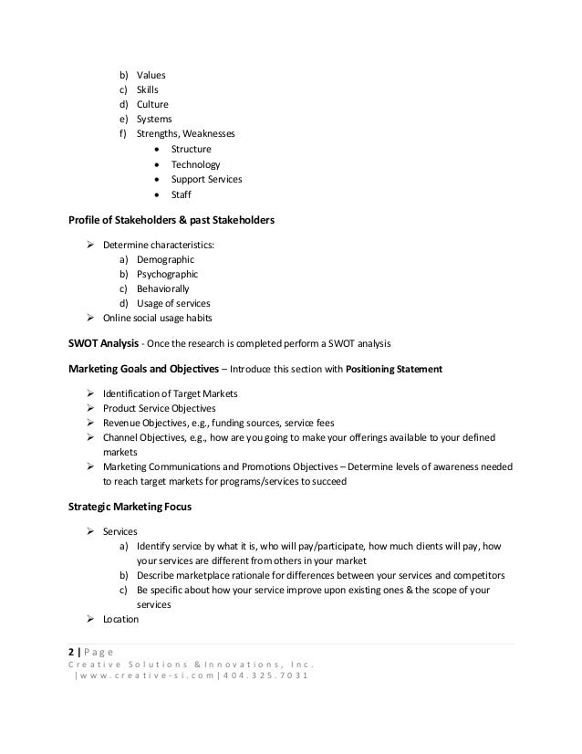 Anatomy Of A Nonprofit Marketing Plan - Non profit organization business plan template