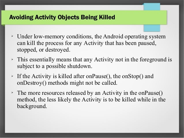 The Activity Lifecycle   Android Developers