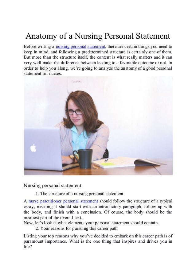 Anatomy of a personal statement