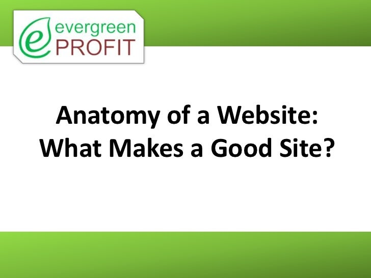 Anatomy of a Website:What Makes a Good Site?