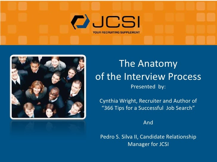 """The Anatomy <br />of the Interview Process <br />Presented  by:<br />Cynthia Wright, Recruiter and Author of """"366 Tips for..."""