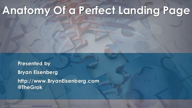 © 1998 - 2014 Eisenberg Holdings, LLC www.BryanEisenberg.com & @TheGrok Anatomy Of a Perfect Landing Page Presented by Bry...