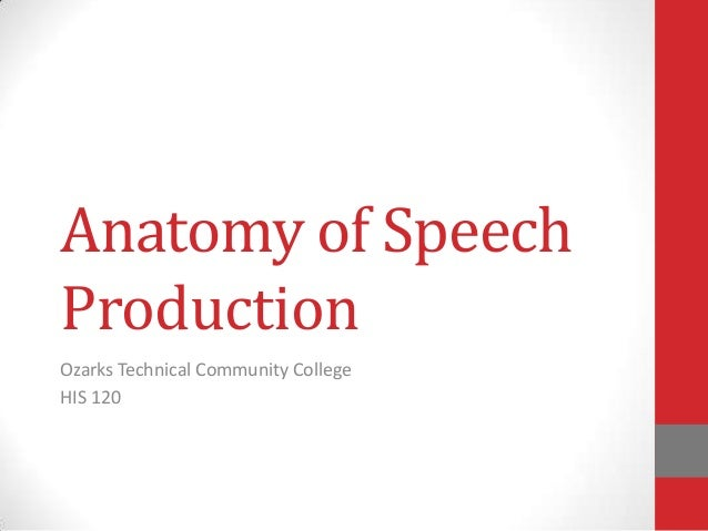 Anatomy of Speech Production Ozarks Technical Community College HIS 120