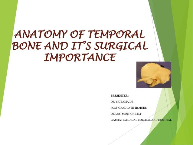ANATOMY OF TEMPORAL BONE AND IT'S SURGICAL IMPORTANCE PRESENTER: DR. SRITAMA DE POST GRADUATE TRAINEE DEPARTMENT OF E.N.T ...