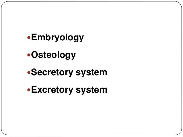 Embryology Osteology Secretory system Excretory system