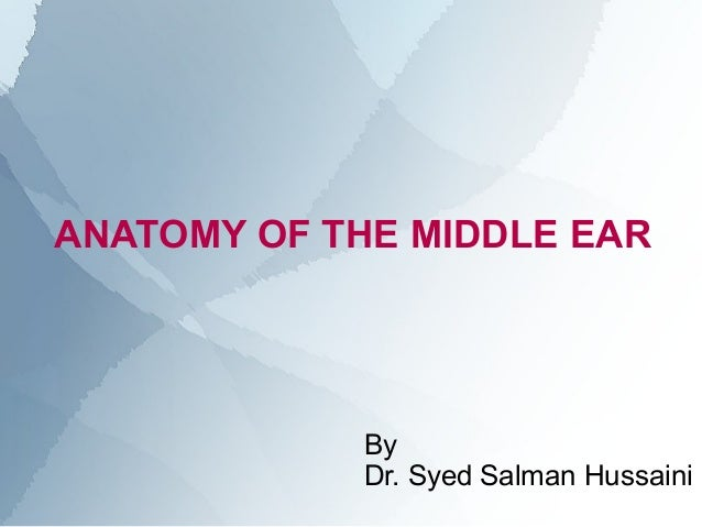 ANATOMY OF THE MIDDLE EAR            By            Dr. Syed Salman Hussaini