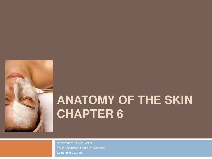 Anatomy of the SkinChapter 6 <br />Prepared by: Lesley Castle<br />For the Baltimore School of Massage<br />September 30, ...