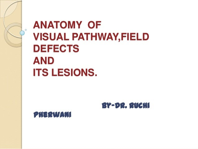 ANATOMY OF VISUAL PATHWAY,FIELD DEFECTS AND ITS LESIONS. By-Dr. Ruchi Pherwani