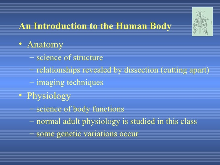 An Introduction to the Human Body• Anatomy  – science of structure  – relationships revealed by dissection (cutting apart)...