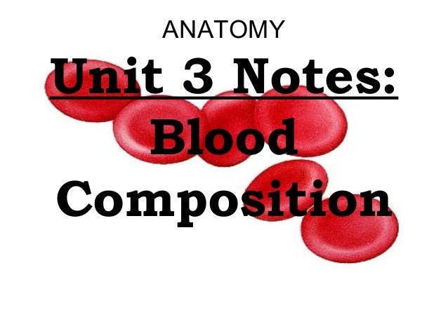 ANATOMY Unit 3 Notes: Blood Composition
