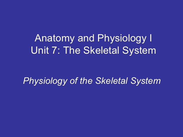 Anatomy and Physiology I Unit 7: The Skeletal SystemPhysiology of the Skeletal System